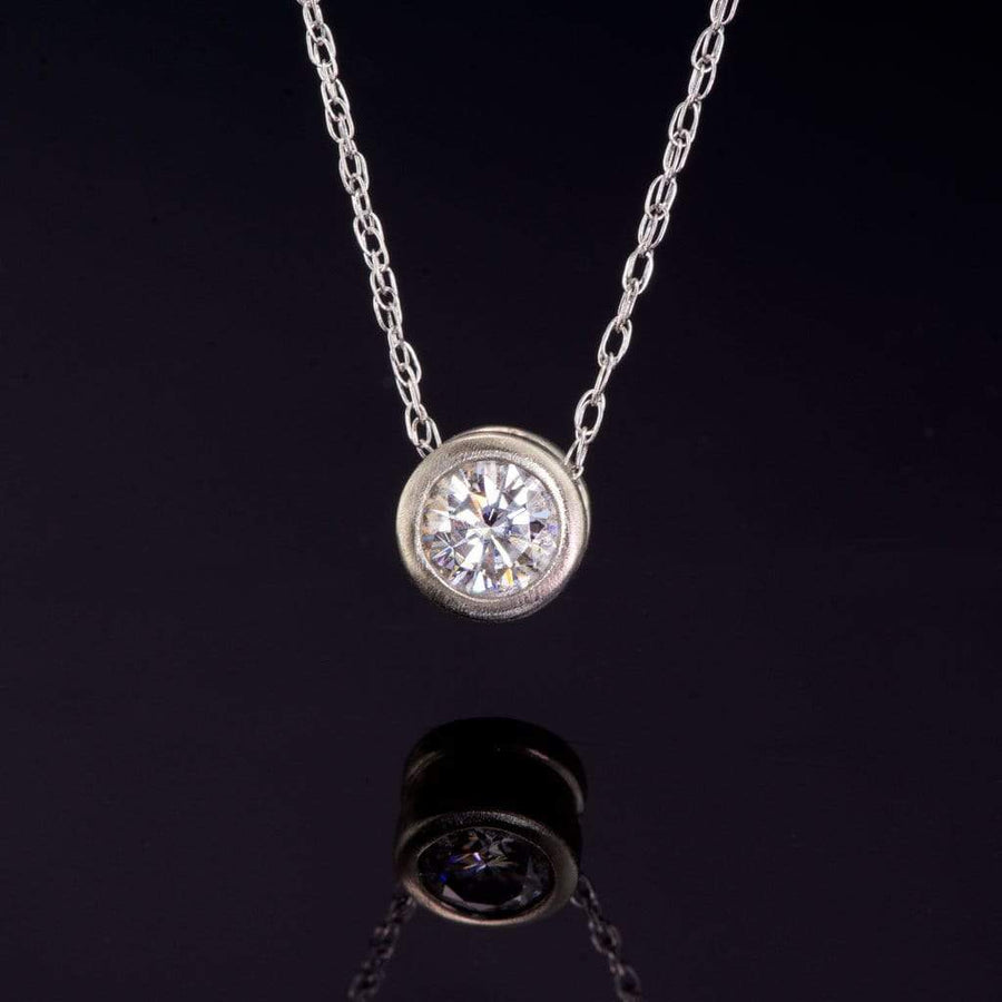 Round 0.5ct Supernova Moissanite Slide Pendant 14k White Gold Necklace, Ready to Ship