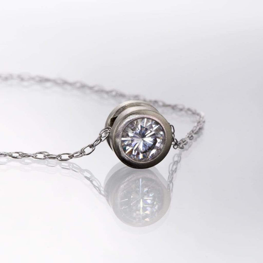 Classic Round 0.5ct Moissanite Slide Pendant Necklace - by Nodeform