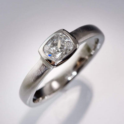 Cushion Cut 0.5ct Diamond Bezel Set Low Profile Solitaire Engagement Ring