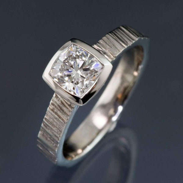 Cushion Cut 1 Carat Diamond Bezel Set Solitaire Saw Textured Engagement Ring