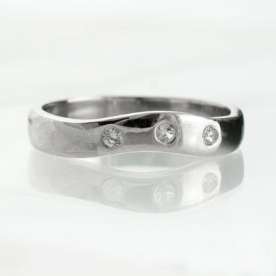 White Sapphire Fitted Contoured Wedding Ring Shadow Band
