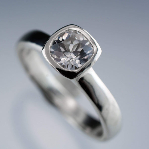 Lab Created Cushion White Sapphire Bezel Solitaire Engagement Ring - by Nodeform