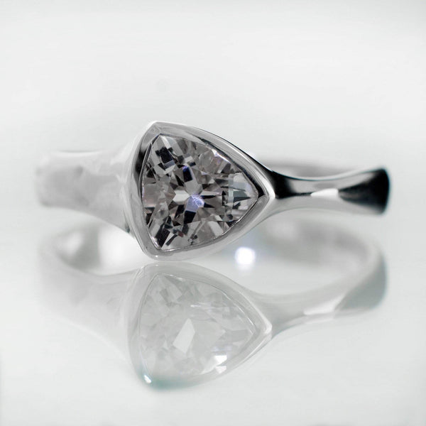 Trillion White Sapphire Bezel Solitaire Engagement Ring - by Nodeform
