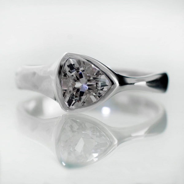 Trillion Lab Created White Sapphire Bezel Solitaire Engagement Ring - by Nodeform