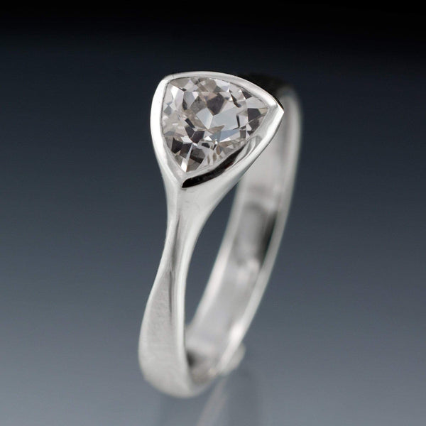 Trillion white sapphire engagement ring in palaldium, platinum or gold