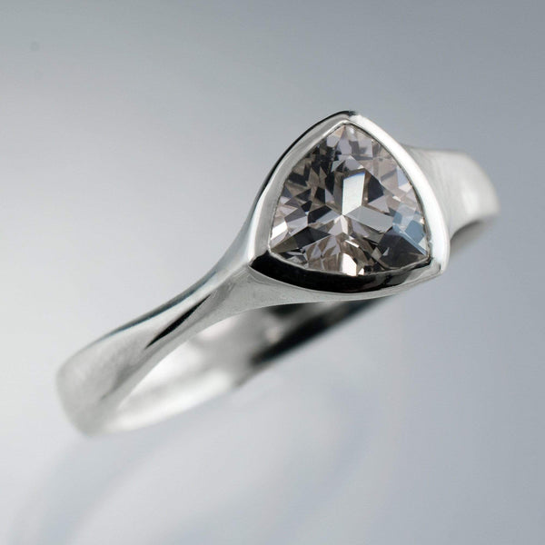 Trillion Lab Created White Sapphire Bezel Solitaire Engagement Ring