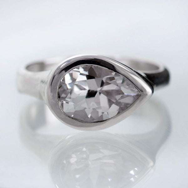 Lab Created Pear White Sapphire Tear Drop Bezel Engagement Ring - by Nodeform