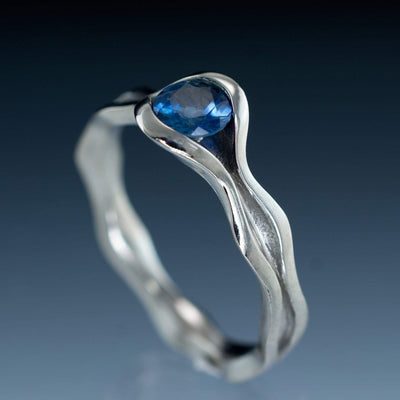Wave Fair Trade Green Blue Malawi Sapphire Engagement Ring