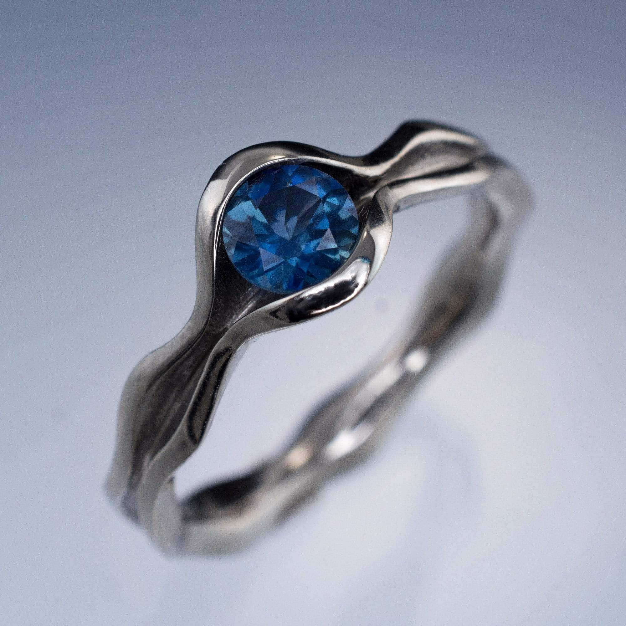 Wave Fair Trade Green Blue Malawi Sapphire Solitaire Engagement Ring