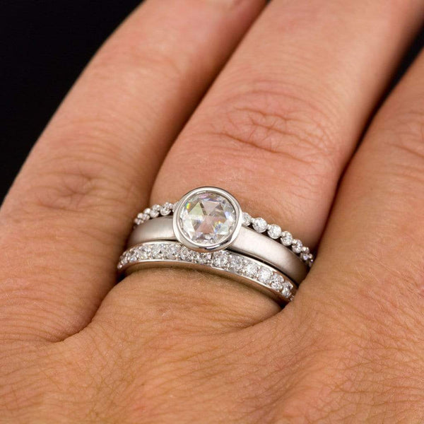 Rose Cut Round Moissanite Solitaire Engagement Ring