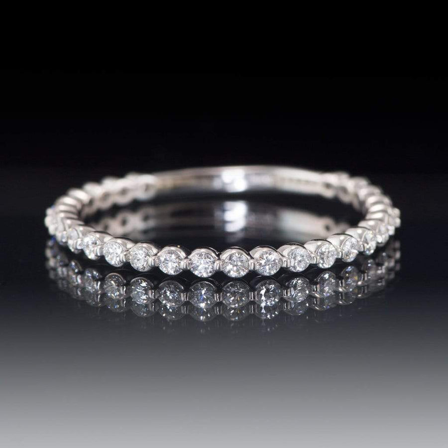 3/8CTW Diamond, Moissanite or Sapphire Bar Set Anniversary Wedding Ring - by Nodeform