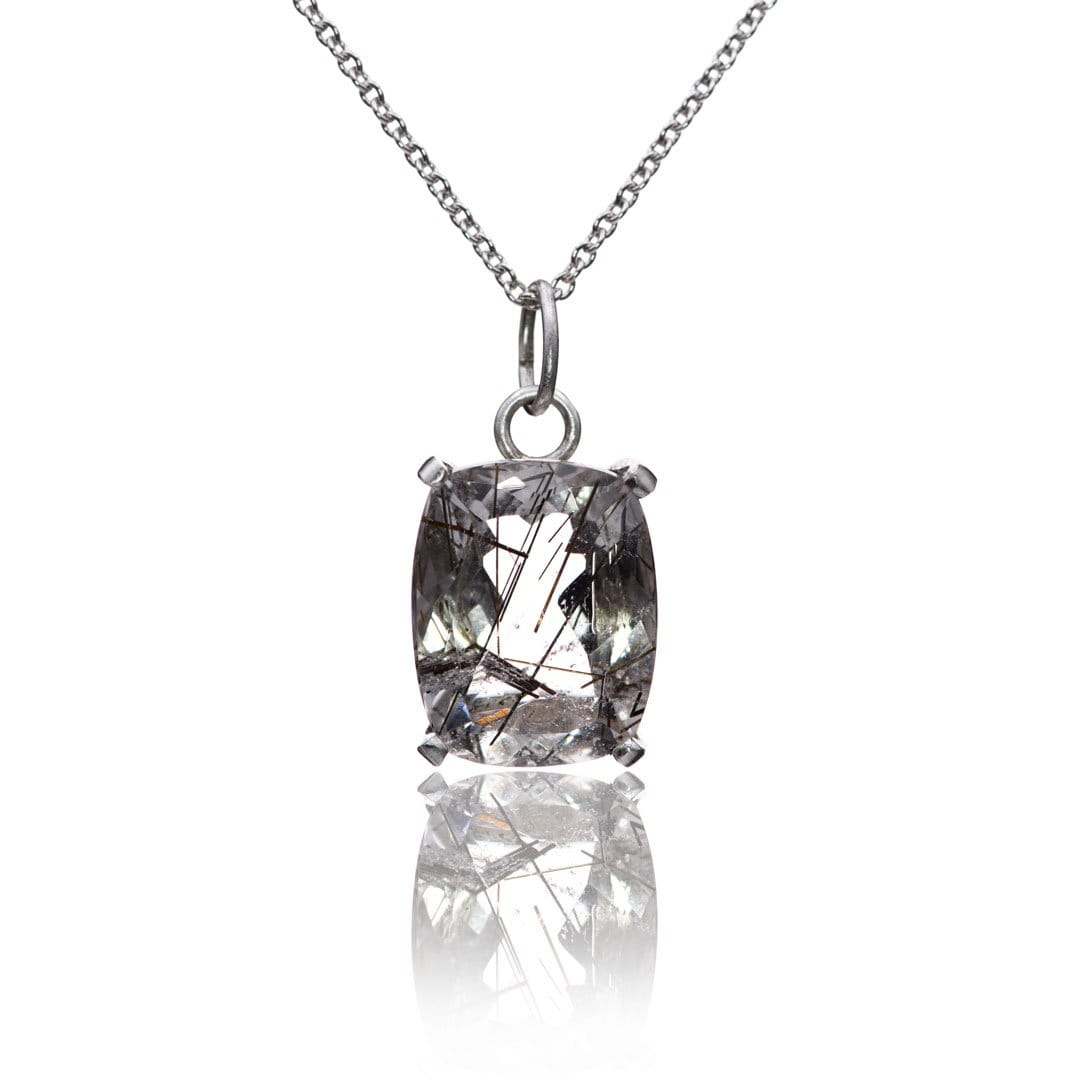 Cushion Cut Rutile Quartz Prong set Pendant Sterling Silver Necklace, Ready to Ship