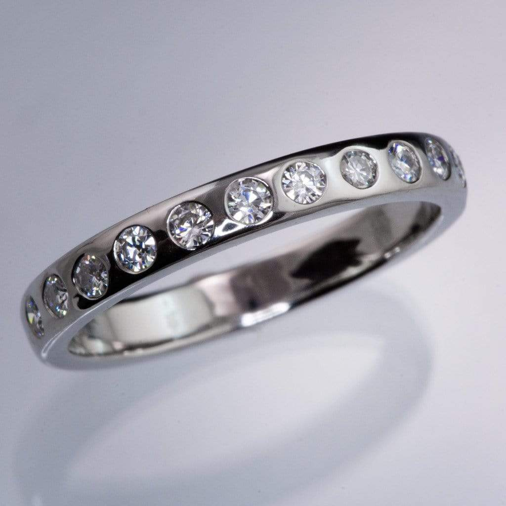 Narrow 12 Moissanite Flush Set Wedding Ring - by Nodeform