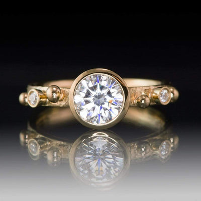 Engagement Ring Round Moissanite & Diamonds in 18k Gold Accents