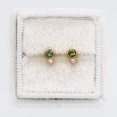Fair Trade Green Montana Sapphire Bezel Stud Earrings With Moissanite Accents, Ready to Ship