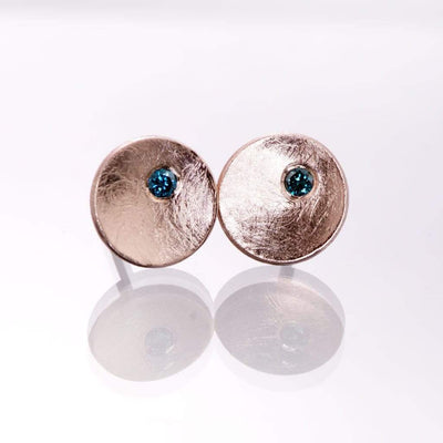 Small Concave Round Simple Teal Blue Diamond Studs Earrings