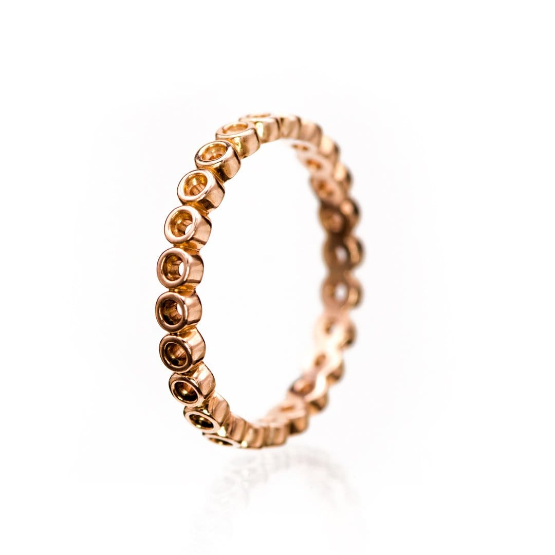 Brielle Band- Bubbly Rose Gold Eternity Ring Stacking Wedding Band, Ready to Ship Size 6