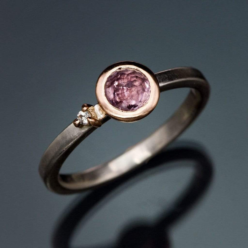 Mixed Metal Bezel Set Rose Cut Pink Sapphire & Moissanite Accent Stacking Ring, size 4 to 9
