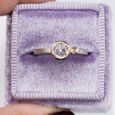 Mixed Metal Bezel Set Rose Cut Moissanite & Accent Engagement Stacking Ring, size 5 to 9