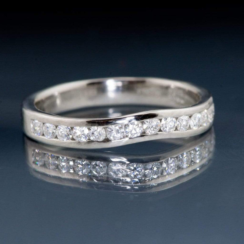 Contoured Moissanite Channel Set Curved Shadow Wedding Band - by Nodeform