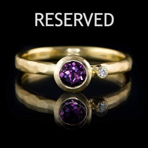 Fair Trade Grape Pink Sapphire and Diamond 18k Yellow Gold Engagement Ring, Ready to Size 5 to 9