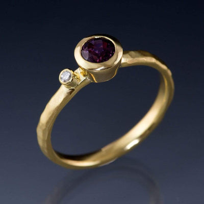 Fair Trade Grape Pink Sapphire and Diamond 18k Yellow Gold Engagement Ring, Ready to Size 5 to 9 - by Nodeform