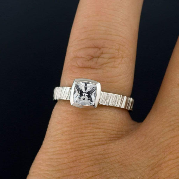 Cushion Cut White Sapphire Bezel Set Solitaire Saw Textured Engagement Ring