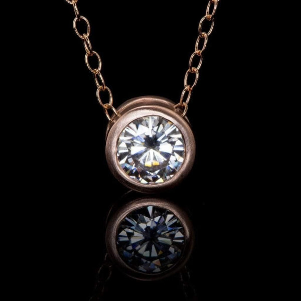1ct Forever Brilliant Moissanite Round Rose Gold Slide Pendant Necklace, Ready to ship - by Nodeform