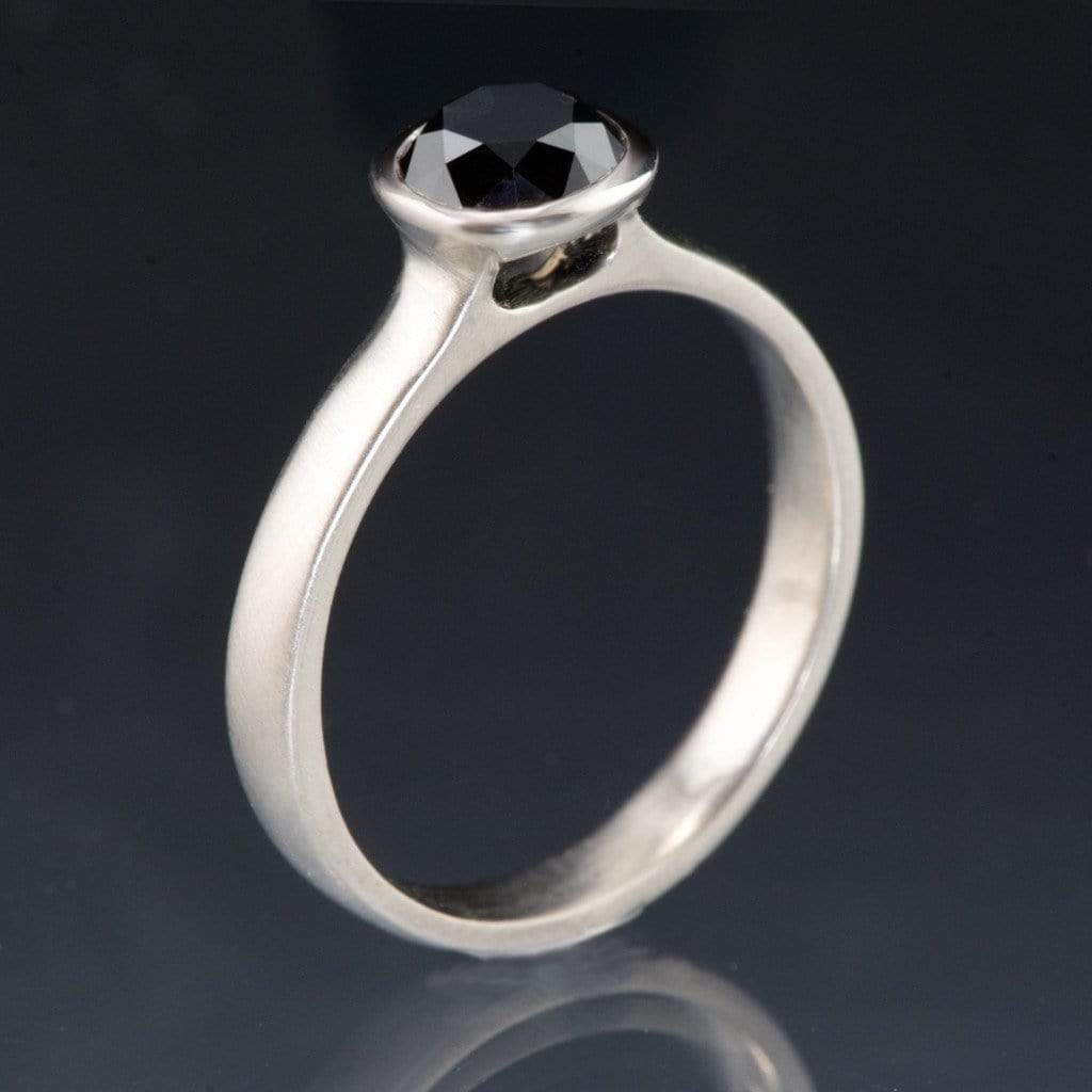 Round Black Diamond Peekaboo Bezel Engagement Ring - by Nodeform