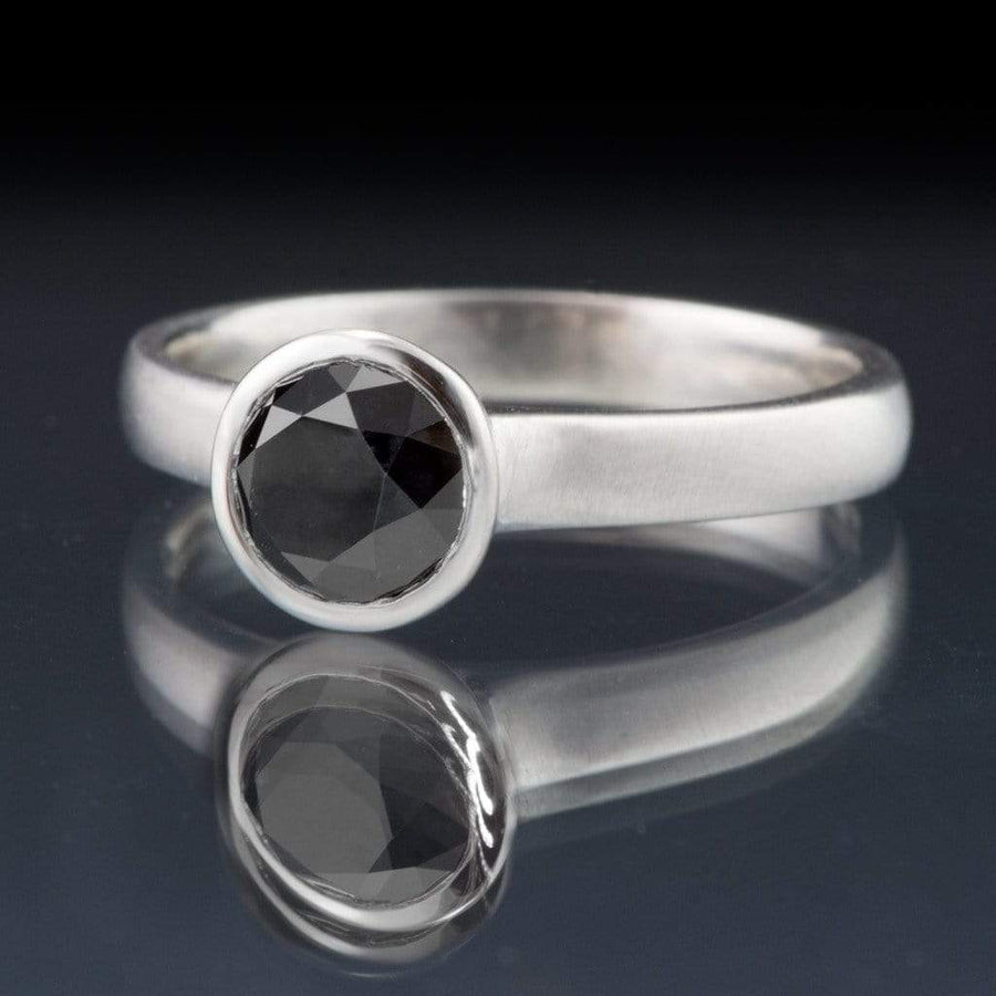 Round Black Diamond Full Bezel Engagement Ring - by Nodeform