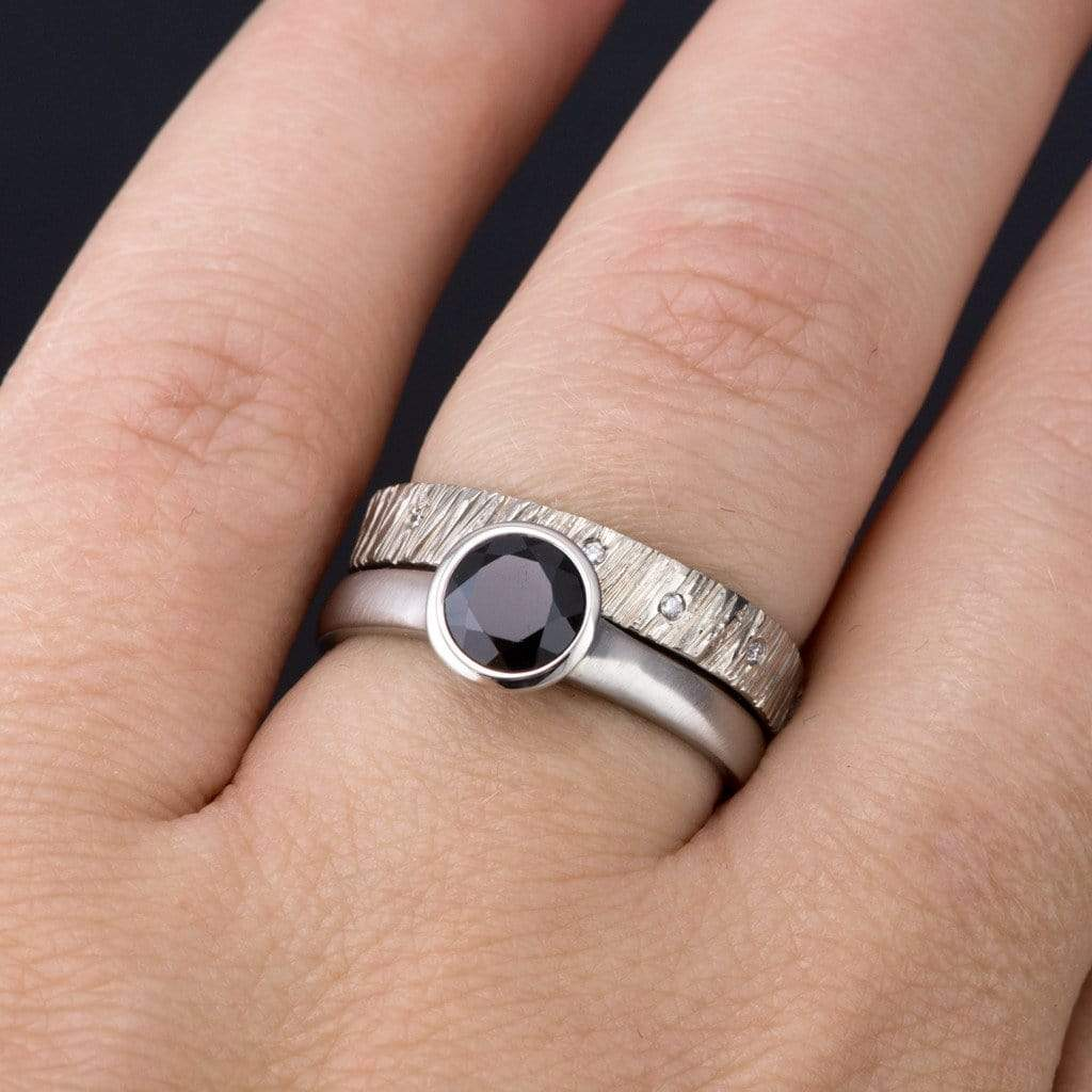 Round Black Diamond Peekaboo Bezel Engagement Ring