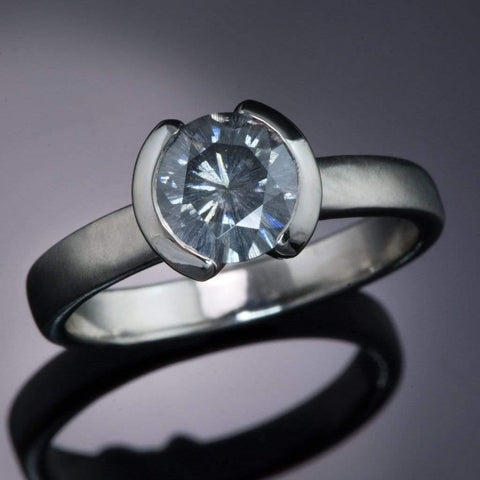 1ct Round Gray Moissanite Half Bezel Solitaire Engagement Ring, Ready to Ship size 4 to 7 - by Nodeform