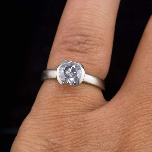 1ct Round Gray Moissanite Half Bezel Solitaire Engagement Ring