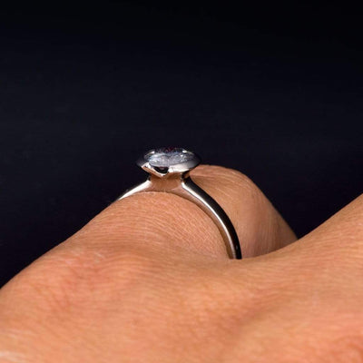 1ct Round Gray Moissanite Half Bezel Solitaire Engagement Ring on hand