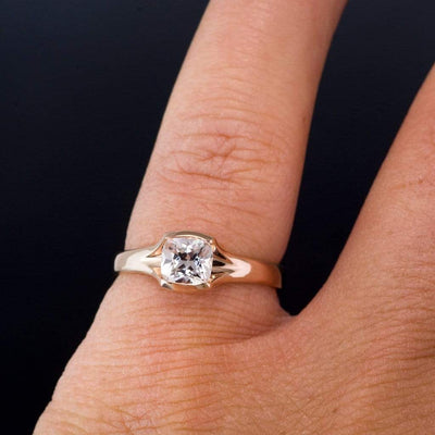 Cushion Cut White Sapphire Fold Solitaire Semi-Bezel Engagement Ring
