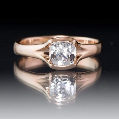 Cushion White Sapphire Fold 14k Rose Gold Solitaire Engagement Ring, Size 4.5-8, ready to ship