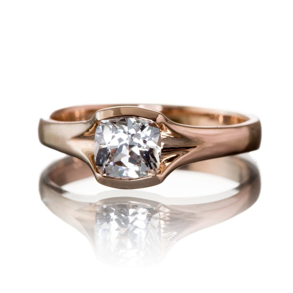 Cushion White Sapphire Fold 14k Rose Gold Solitaire Engagement Ring, Size 4-8, ready to ship