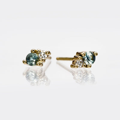 Fair Trade Green Montana Sapphire & Recycled Diamond Stud Earrings, Ready to Ship