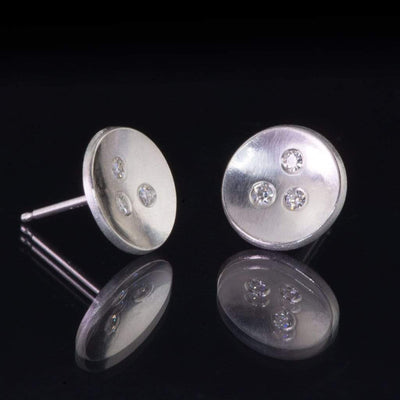 Three Moissanite Concave Round Sterling Silver Studs Earrings, Ready to Ship - by Nodeform