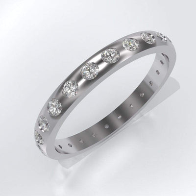 Narrow Moissanite Flush Set Eternity Wedding Ring - by Nodeform