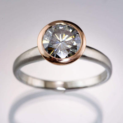 Round Gray Moissanite Mixed Metal Bezel Solitaire Engagement Ring