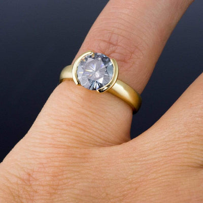Round Gray Moissanite Half Bezel Gold Solitaire Engagement Ring