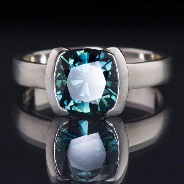 front view Cushion Cut Teal Blue Sapphire Half Bezel Solitaire Engagement Ring