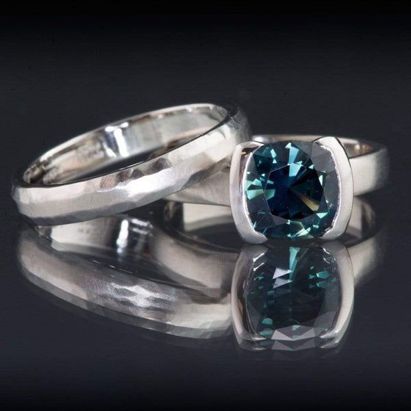 weddig bridal set Cushion Cut Teal Blue Sapphire Half Bezel Engagement Ring