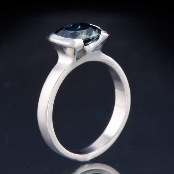 side view Cushion Cut Teal Blue Sapphire Half Bezel Solitaire Engagement Ring