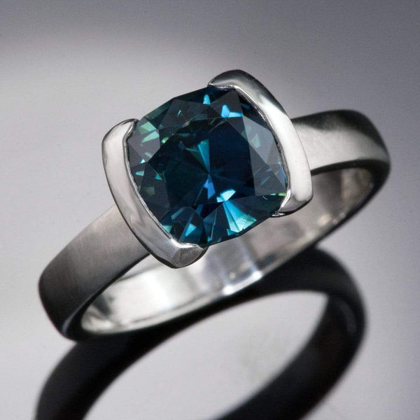 Cushion Cut Teal Blue Sapphire Half Bezel Solitaire Engagement Ring
