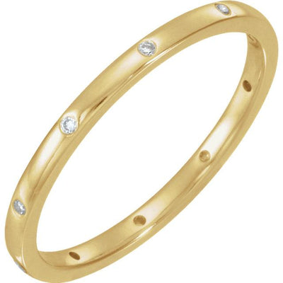 Skinny Thin Eternity Wedding Band With Flush Set Moissanites
