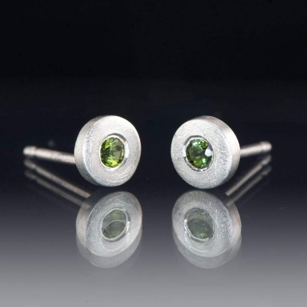 Green Tourmaline Tiny Sterling Silver Stud Earrings, Ready to Ship - by Nodeform
