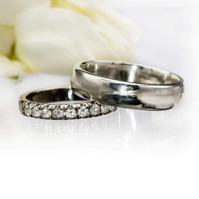 French Set Moissanite Pave Ring Stacking Wedding Band