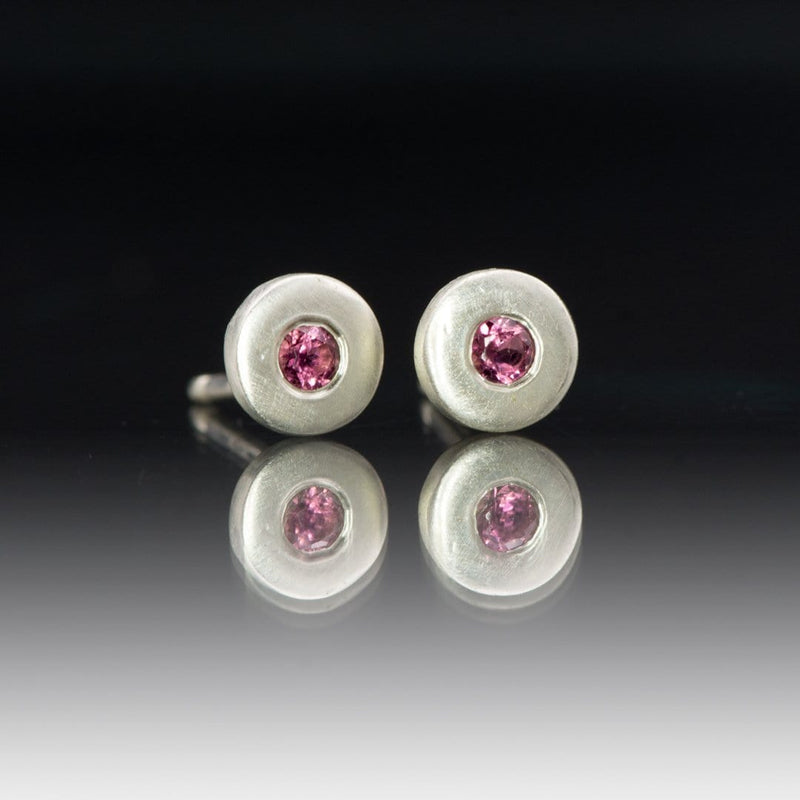 Pink Tourmaline Tiny Sterling Silver Stud Earrings, Ready to Ship